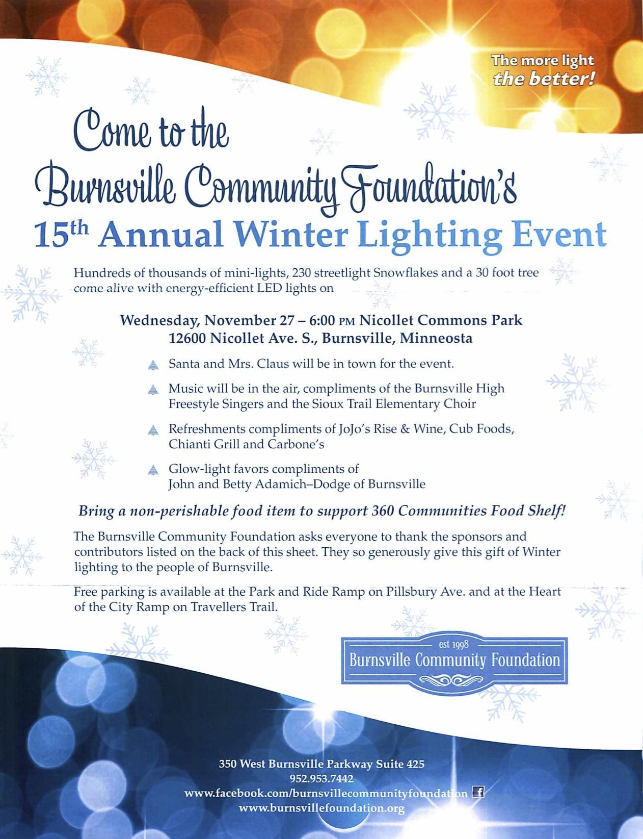 2013 Burnsville Minnesota Winter Lighting Event